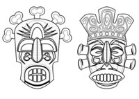 Раскраска Индейские маски