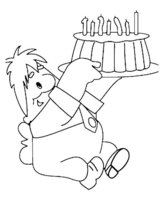 Раскраска Карлсон и праздничный торт