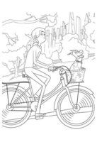 Раскраска Кэти и Макс на велосипеде