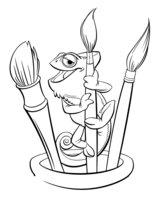 Раскраска Хамелеон Паскаль и акварельные кисточки