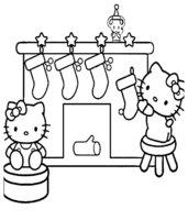 Раскраска Хелло Китти и рождественские носки
