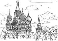 Раскраска Храм Василия Блаженного