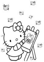 Раскраска Художница-Kitty