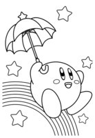 Раскраска Кирби с зонтом