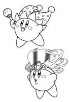 Раскраска Кирби в шапочке
