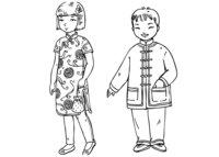 Раскраска Китайские дети