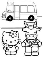 Раскраска Китти на автобусной остановке