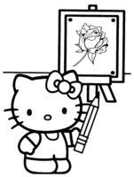 Раскраска Китти нарисовала розочку