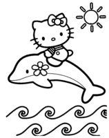 Раскраска Китти подружилась с дельфином