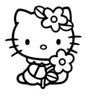 Раскраска Китти с ромашкой