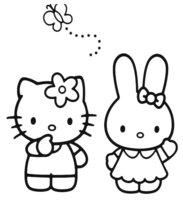 Раскраска Китти с зайкой