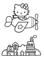 Раскраска Китти в вертолёте