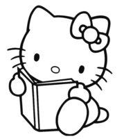 Раскраска Kitty читает книжку