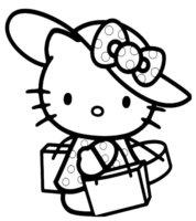 Раскраска Kitty ходит за покупками