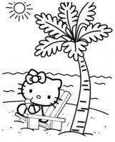 Раскраска Kitty рядом с пальмой