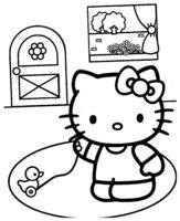 Раскраска Kitty с уточкой