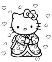 Раскраска Kitty в кимано