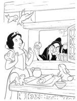 Раскраска Колдунья принесла Белоснежке отравленное яблоко