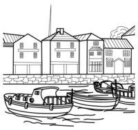 Раскраска Корабли в порту