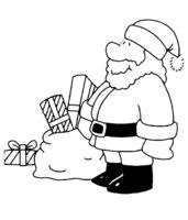 Раскраска Коробки с подарками от Деда Мороза