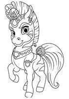Раскраска Королевский Питомец Жасмин зебра Полосатик