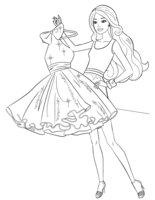Раскраска Короткое платье Барби