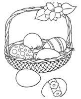 Раскраска Корзина пасхальных яиц
