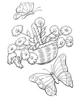 Раскраска Корзина цветов и бабочки