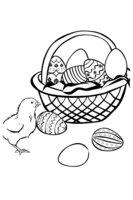 Раскраска Корзинка с пасхальными яйцами