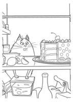 Раскраска кошка Хлоя и тортик