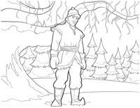 Раскраска Кристофф в лесу