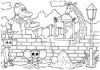 Раскраска Крокодил Гена, Чебурашка и их друзья на стройке