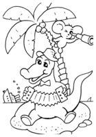 Раскраска Крокодил Гена и Чебурашка на острове