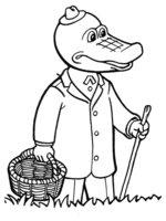 Раскраска Крокодил Гена с тростью и лукошком