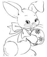 Раскраска Кролик с раскрашенным пасхальным яйцом