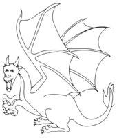 Раскраска Крылатый дракон