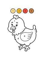 Раскраска Курица по цифрам
