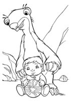 Раскраска Ленивец Сид играет с мальчиком
