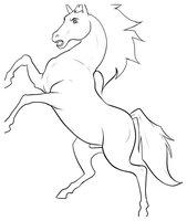 Раскраска Лошадь на дыбах