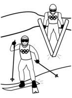Раскраска лыжные гонки