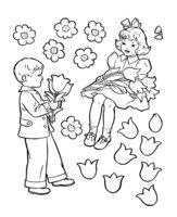 Раскраска Мальчик дарит девочке цветы на День Святого Валентина