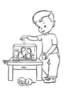 Раскраска Мальчик кормит рыбок