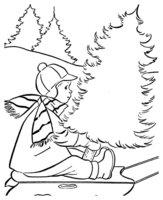 Раскраска Мальчик на санях возле елки