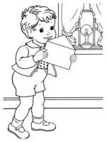 Раскраска Мальчик написал письмо Деду Морозу