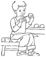 Раскраска Мальчик раскрашивает красками пасхальные яйца