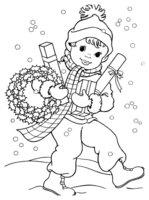 Раскраска Мальчик с новогодними украшениями
