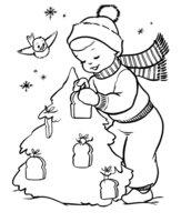 Раскраска Мальчик с птичкой украшают елку
