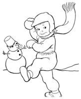 Раскраска Мальчик слепил Снеговика и играет в снежки