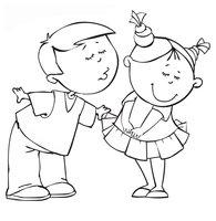 Раскраска Мальчик целует девочку