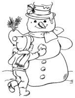 Раскраска Мальчик украшает своего Снеговика